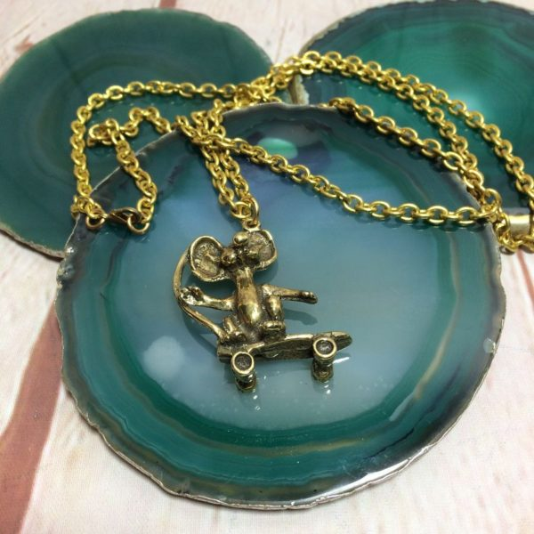HEAVY SOLID BRASS RAT ON SKATEBOARD CHARM W/ BRASS CABLE CHAIN