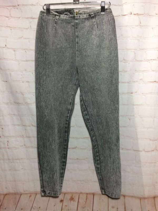 1980'S TAPERED CIGARETTE JEAN ACID WASHED STONE WASHED DENIM W/ BOW-TIE & ZIPPER