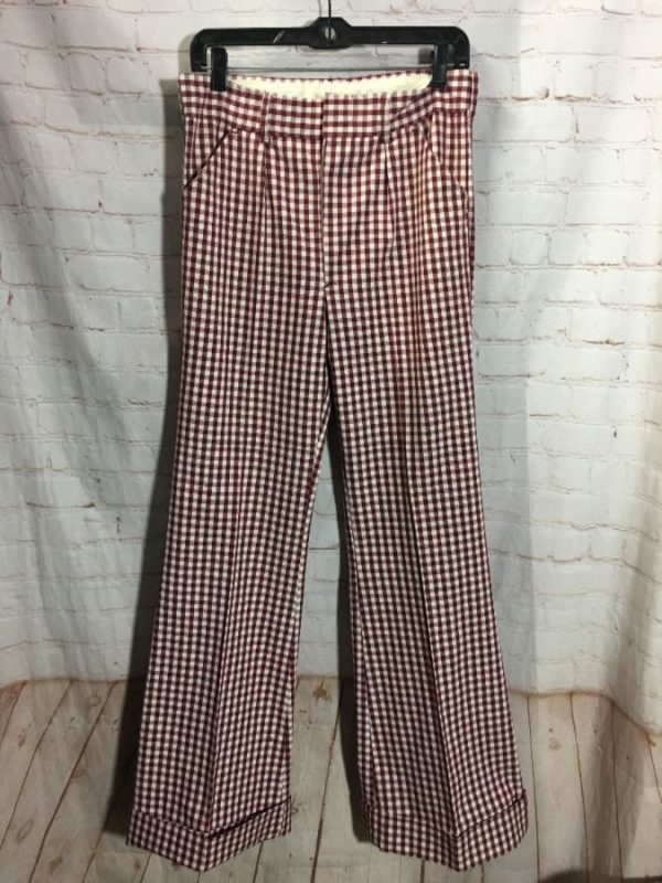 1970'S WIDE LEG BELL BOTTOM PANTS W/ GINGHAM PRINT