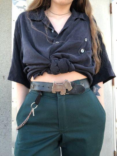 Vintage Leather Dog Buckle Belt