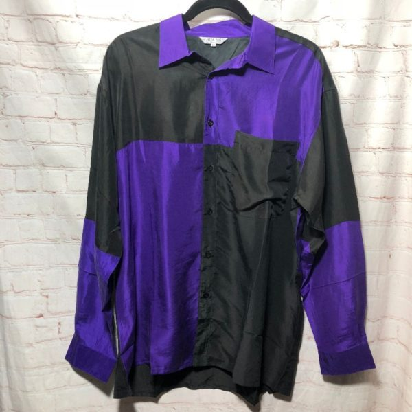 product details: 1990'S SILK COLOR-BLOCK DESIGN W/ COLLAR & FRONT POCKET SHIRT photo