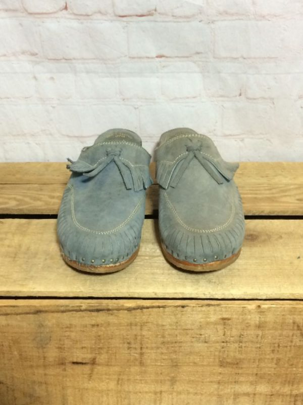 BRUSHED LEATHER SUEDE CLOGS W/ WOOD SOLES