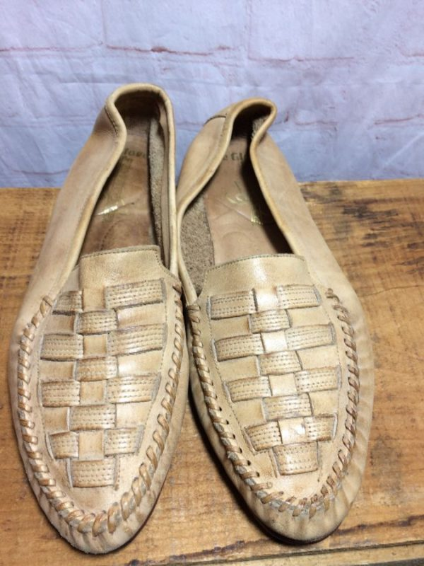LEATHER SLIP-ON SHOES W/ WOVEN DESIGN ON VAMPS