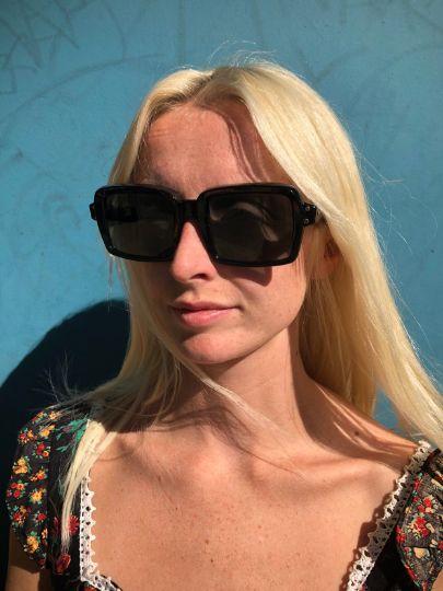 1960's Mod Black Rectangle Frame Sunglasses