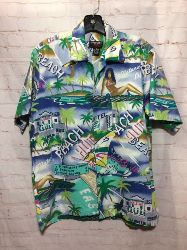 BEACH/HOTEL/BIKINI GIRL/WINDSURFER PRINT DESIGN HAWAIIAN SHIRT