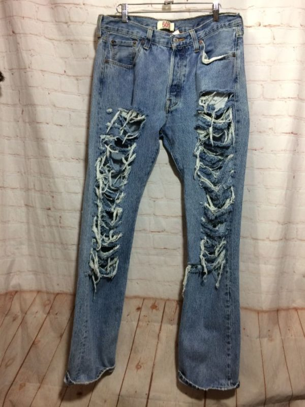LEVIS DENIM JEANS 501 RED TAB FULLY RIPPED & HEAVILY FRAYED
