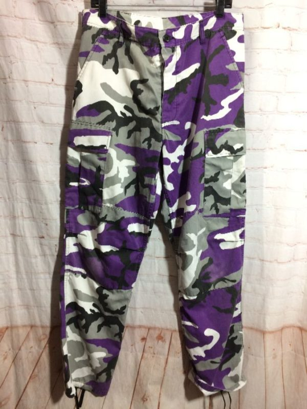 PURPLE CAMO CARGO PANTS DRAWSTRING BOTTOMS