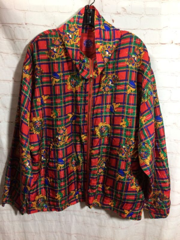 SILK W/ PLAID & CREST DESIGNS PRINT WINDBREAKER JACKET