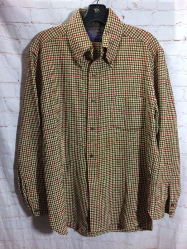 product details: LS BD PENDLETON HEAVY WOOL SHIRT CLASSIC MINI CHECK as-is photo