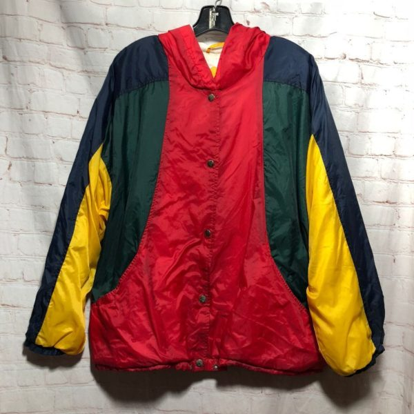 1990'S COLOR-BLOCK DESIGN SNAP-BUTTON HOODED WINDBREAKER