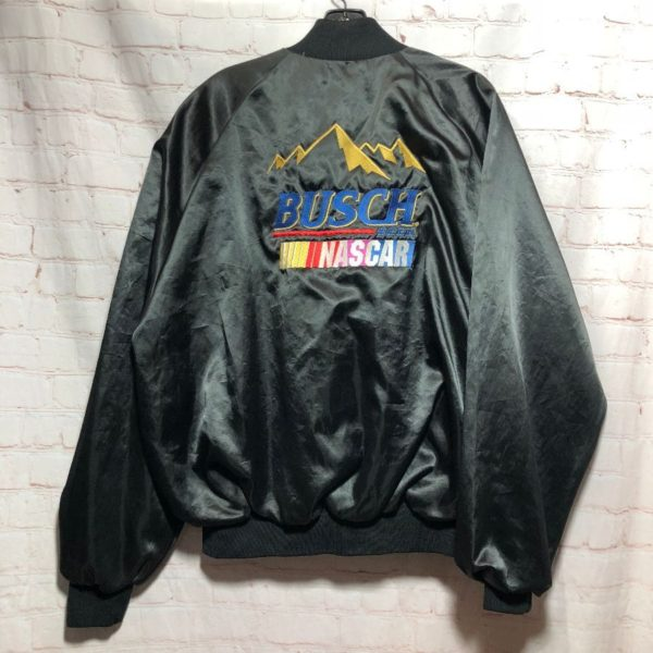 product details: VINTAGE BUSCH-NASCAR SATIN BUTTON-UP JACKET W/ EMBROIDERED LOGOS photo