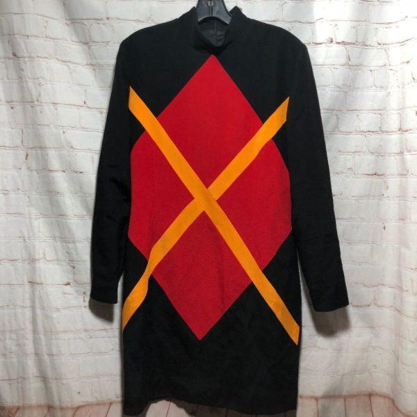 1980'S COLOR-BLOCK DESIGN DRESS W/ ZIP-UP NECK IN BACK