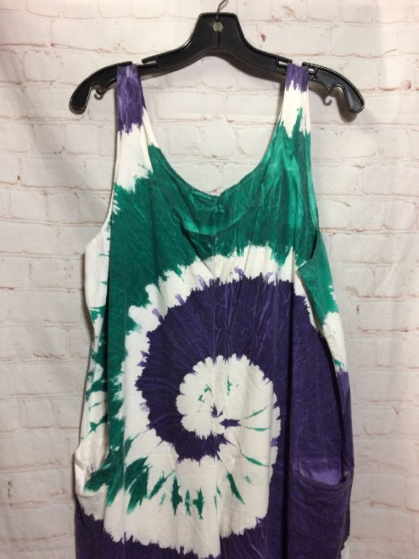 TIE-DYE ONE PIECE COTTON TANK TOP JUMPSUIT W/ POCKETS