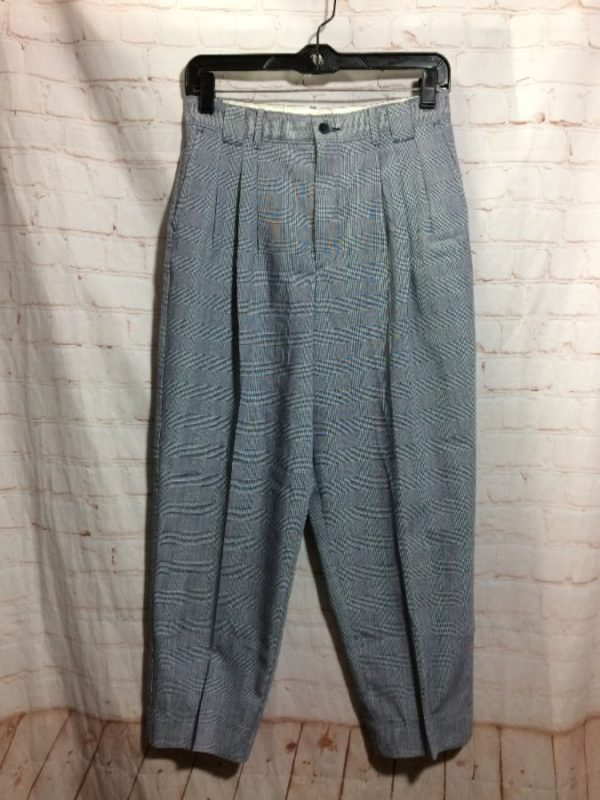 1980'S CROPPED W/ FRONT PLEATS & TWEED PLAID TROUSERS