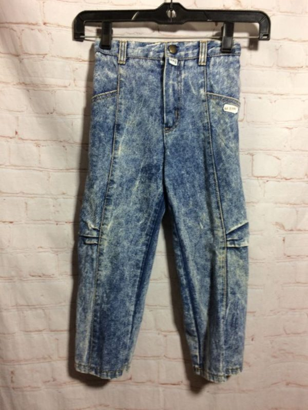 product details: 1980'S ACID WASHED GUESS DENIM KIDS JEANS W/ ELASTIC WAIST photo