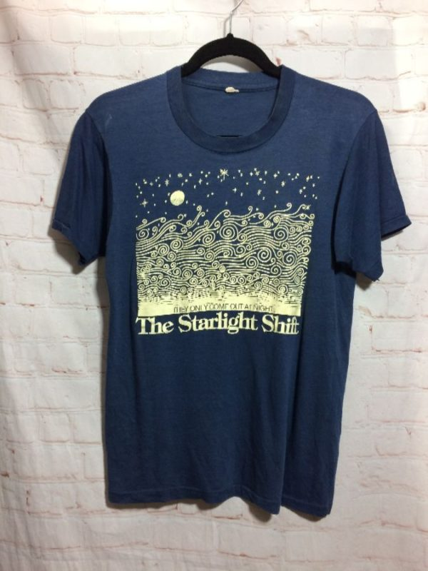 "product details: THE STARLIGHT SHIFT ""THEY ONLY COME OUT AT NIGHT"" T-SHIRT SINGLE STITCH TEE photo"