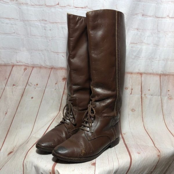 1980'S LEATHER LACE-UP KNEE-HIGH ENGLISH RIDING BOOTS