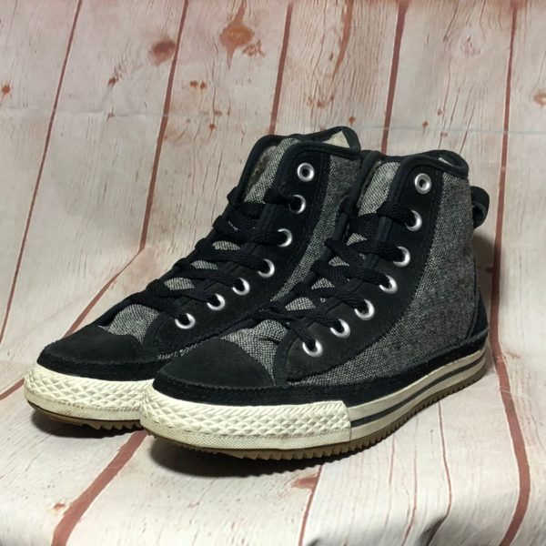 FAUX FUR LINED TWEED CANVAS & SUEDE LEATHER TRIM LACE-UP SNEAKERS