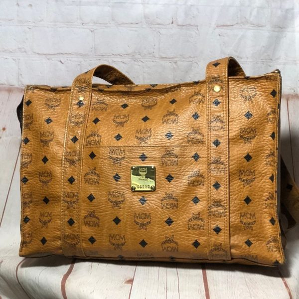 MCM MONOGRAM & DIAMOND PATTERN LEATHER TOTE BAG W/ ZIPPER