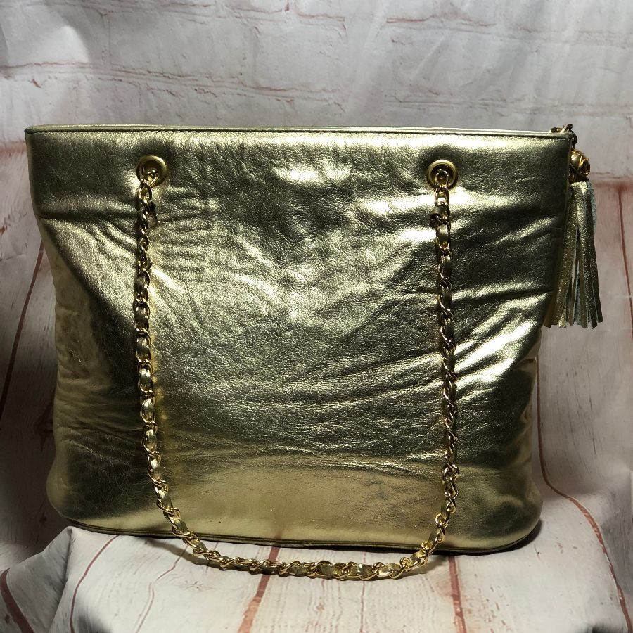 499094d4223 1980S VINTAGE GOLD LAMB LEATHER CHANEL HANDBAG WITH DOUBLE CHAIN SHOULDER  STRAPS
