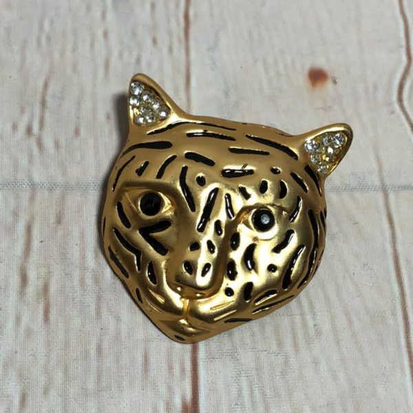 ENGRAVED GOLD METAL TIGER BROOCH PIN