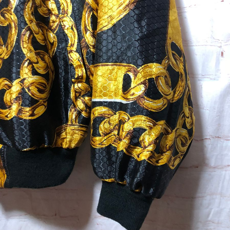 671cd89cc 100% POLYESTER CHANEL-STYLE CHAIN PATTERNED ZIP-UP BOMBER JACKET