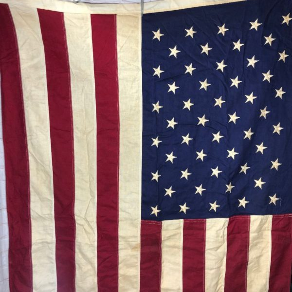 LARGE COTTON AMERICAN FLAG W/ 50 EMBROIDERED STARS