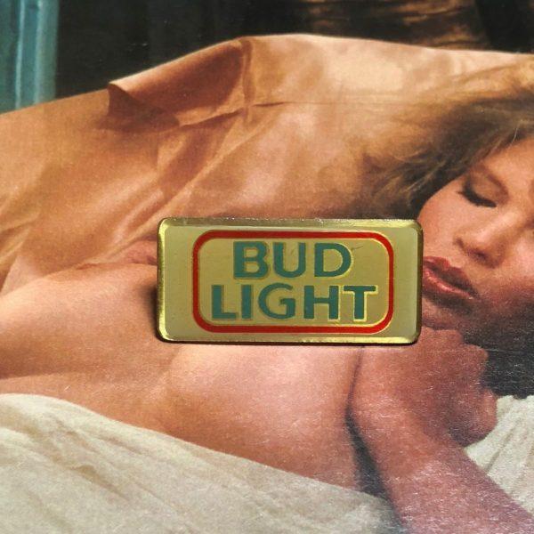 RARE VINTAGE BUD LIGHT LOGO RECTANGLE SHAPED ENAMEL PIN