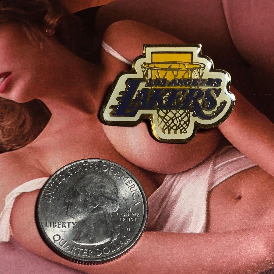RARE VINTAGE NBA LOS ANGELES LAKERS LOGO W/ HOOP ENAMEL PIN