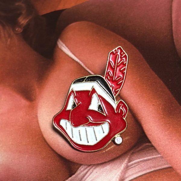 product details: RARE VINTAGE MLB CLEVELAND INDIANS CHIEF LOGO ENAMEL PIN photo