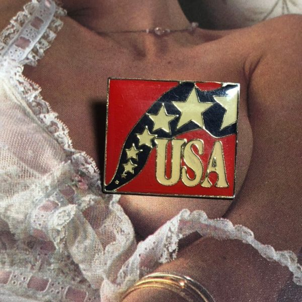 VINTAGE USA SHOOTING STARS ENAMEL PIN