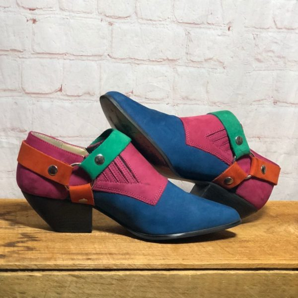 product details: 1980S-90S SUEDE COLORBLOCK WINKLEPICKER HARNESS BOOTIES #PERFECTION photo