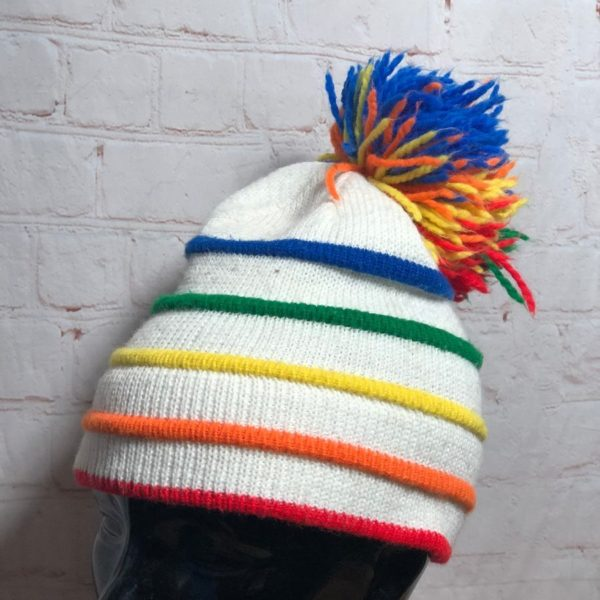 RETRO 1970'S COLORFUL STRIPED KNIT POM BEANIE HAT