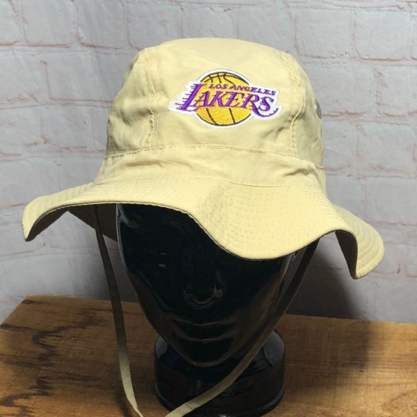 NBA LOS ANGELES LAKERS SUN BUCKET HAT W/ WIDE BRIM & EMBROIDERED LOGO