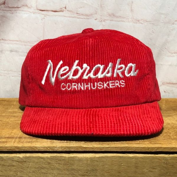 NEBRASKA CORNHUSKERS COLLEGIATE EMBROIDERED CORDUROY TRUCKER CAP