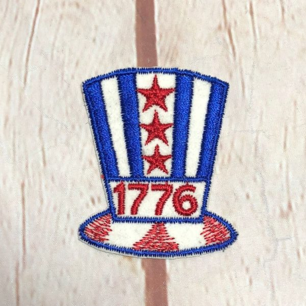 STARS & STRIPES 1776 USA TOP HAT VINTAGE EMBROIDERED PATCH