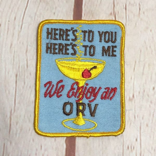 product details: VINTAGE 1960'S - WE ENJOY AN ORV MARTINI - RECTANGLE EMBROIDERED PATCH photo