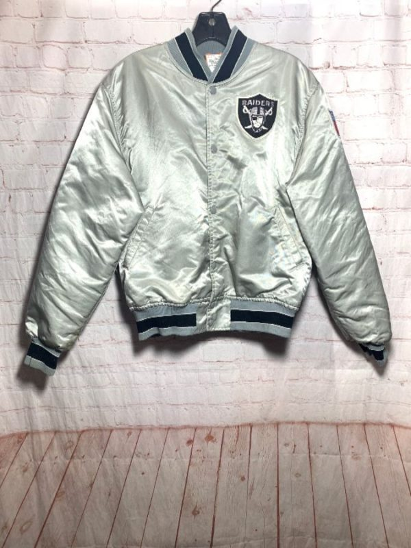 NFL OAKLAND RAIDERS SATIN BUTTON UP STARTER JACKET AS-IS