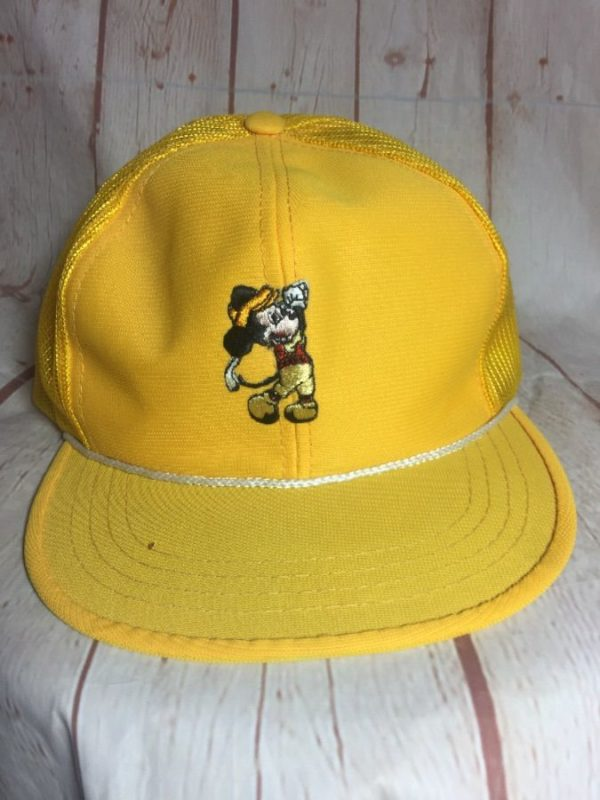 1970'S VINTAGE MICKEY GOLF MESH TRUCKER HAT W/ EMBROIDERED PATCH