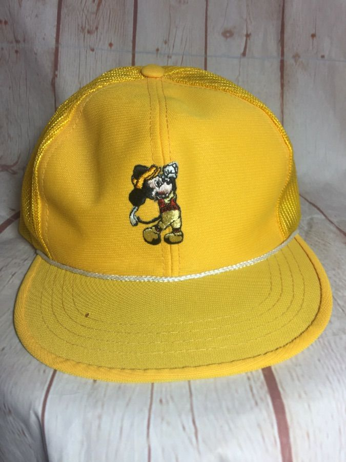 1970 S VINTAGE MICKEY GOLF MESH TRUCKER HAT W  EMBROIDERED PATCH ... d05bf1f0223