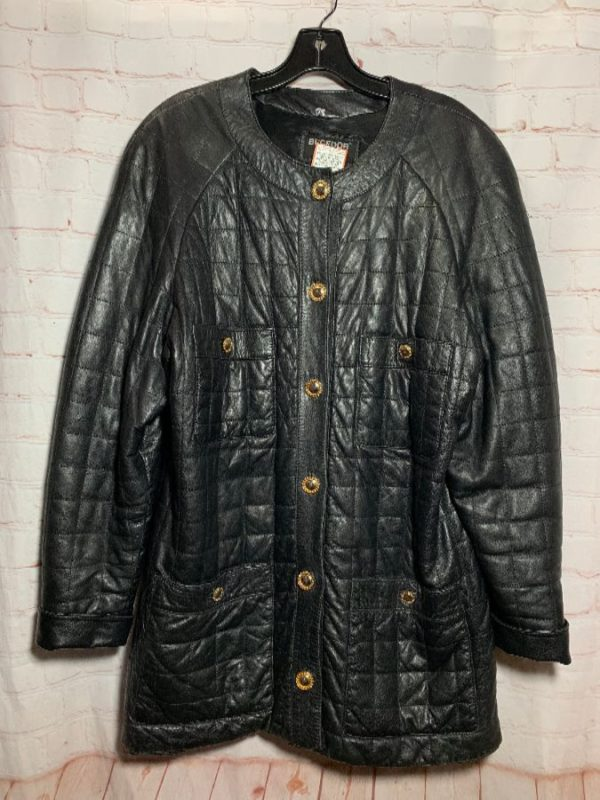 1980'S QUILTED BUTTER SOFT LEATHER JACKET GOLD METAL BUTTONS CHANEL STYLE