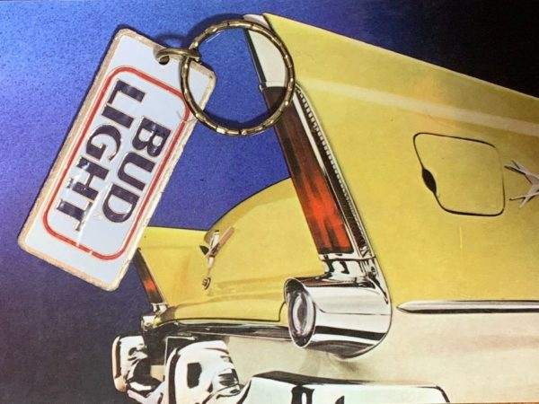VINTAGE BUD LIGHT RECTANGLE KEY CHAIN