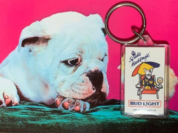 RETRO BUD LIGHT SPUDS MACKENZIE CLEAR PLASTIC KEY CHAIN