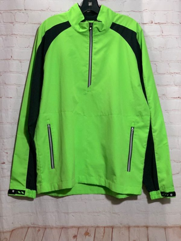 RETRO – FEEL THE JOY W/ NEON COLORED HALF ZIP-UP JACKET