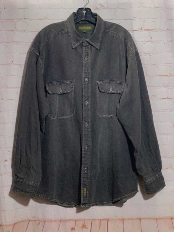product details: VINTAGE TIMBERLAND DENIM SHIRT W/ 2 FRONT POCKETS photo