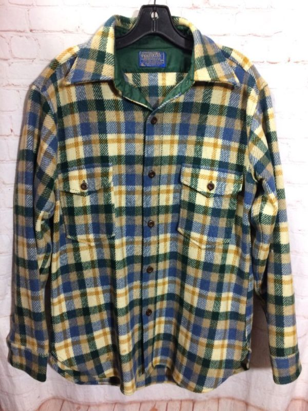 PENDLETON WOOL FLANNEL SHIRT W/ PLAID DESIGNS