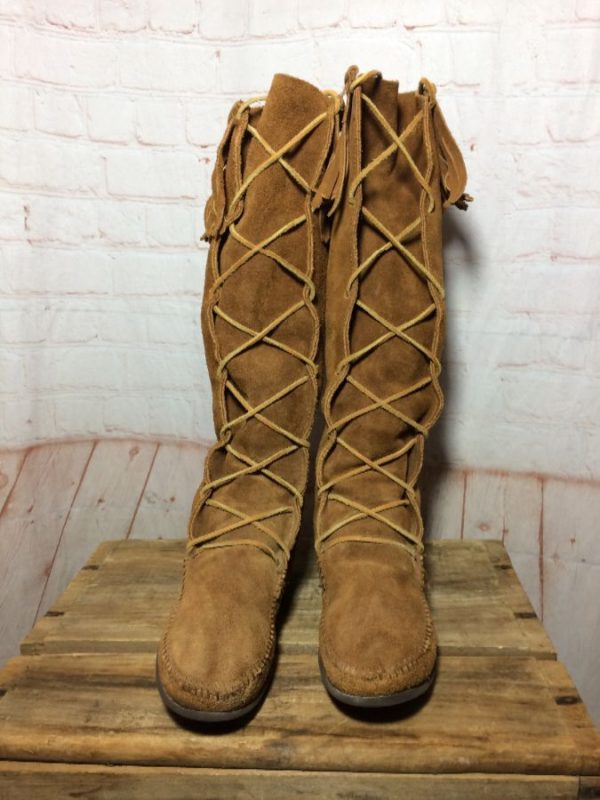 FRINGED KNEE HIGH SUEDE LACE-UP MOCCASIN BOOTS