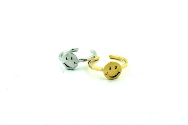 product details: MINI SMILEY FACE RING ADJUSTABLE SHANK photo