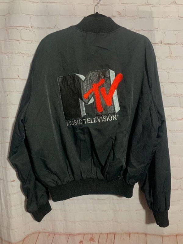 RETRO MTV BOMBER JACKET W/ APPLIQUE & EMBROIDERED BACK DESIGN