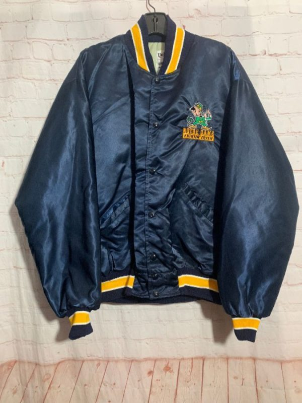 RETRO NOTRE DAME FIGHTIN' IRISH EMBROIDERED BOMBER JACKET